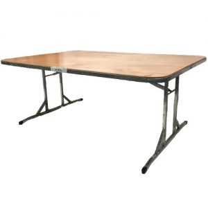 single table wooden top steel frame folding legs for hire