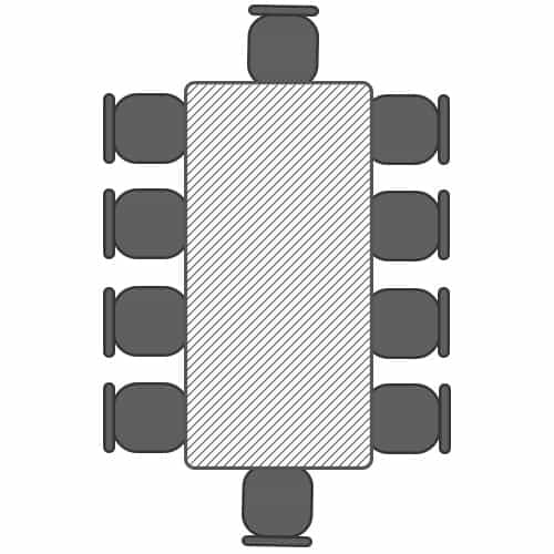 Seating plan - 2.4m table with 10 seats