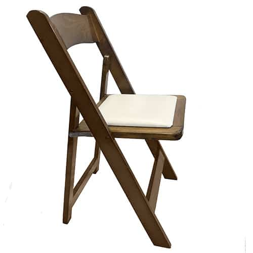 Timber flat folding wooden chair with white padded seat