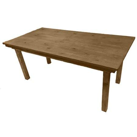 rustic wooden table for hire angled view