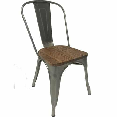 single tolix chair galvanised frame with wooden seat