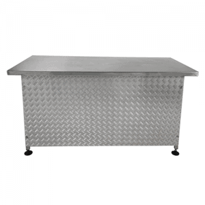 ONE STAINLESS STEEL BAR, 4 soft feet, stainless steel chequer plate on front of bar, smooth stainless steel on top