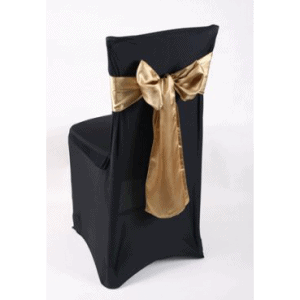 Lycra Chair Cover, Black with Gold Sash