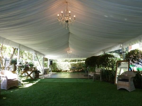 Inside marquee with silk lining and Chandelier at Mosman