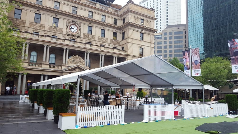 Marquee in front of Customs House Sydney for Melbourne cup function, fencing and synthetic grass