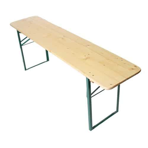Single image of picnic table solid wood top steel frame folding legs