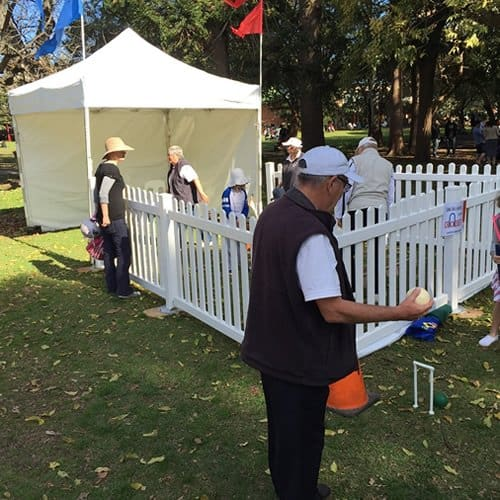 shelter and picket fencing at festival in park