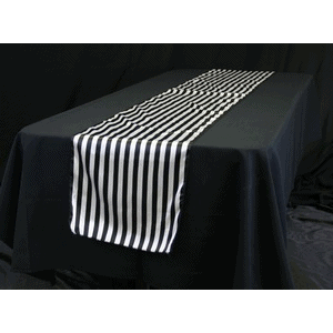 Table Runner – Black and white satin
