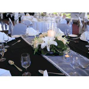 Table Runner U2013 White With Crystal Beaded Edge