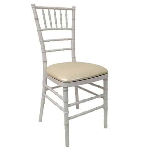 image of single white tiffany chair with cream cushion