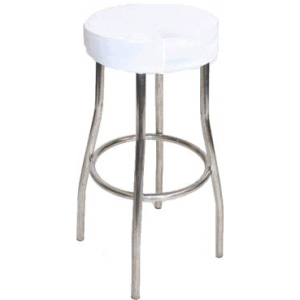 White Padded Stool Cover