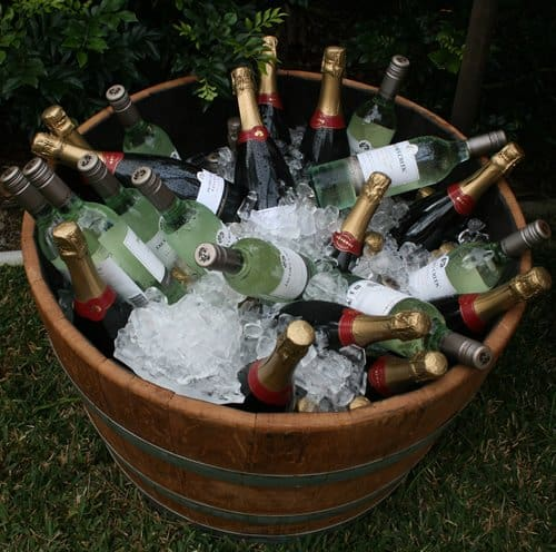 Wine Barrel used as ice tube with ice and drinks