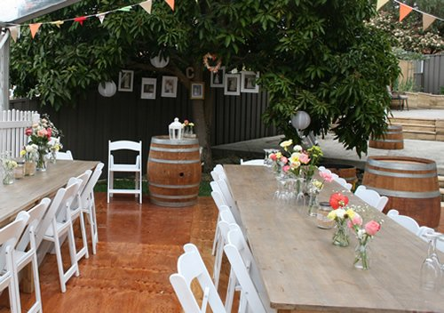 wine barrel as decoration in table setting