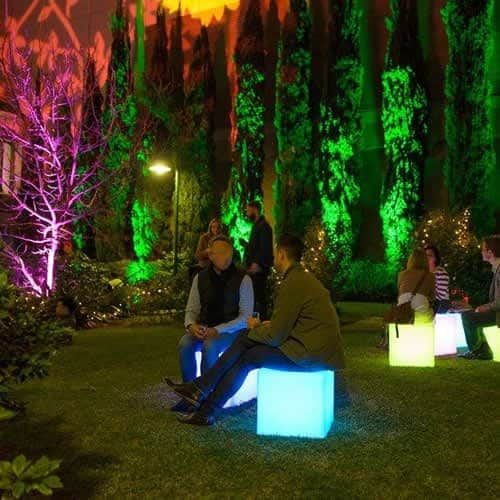 glow cubes in backyard party