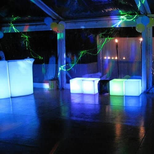 glow bar and benches in marquee with clear roof and sides