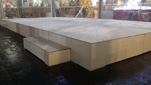 White stage with step 300mm high 6m x 3m rectangle