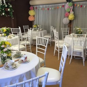 White Tiffany chairs at Kitchen Tea