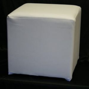 White ottoman cube for hire
