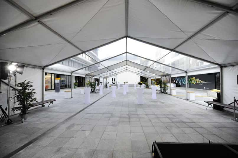 Marquee set up cocktail style with clear roof segments
