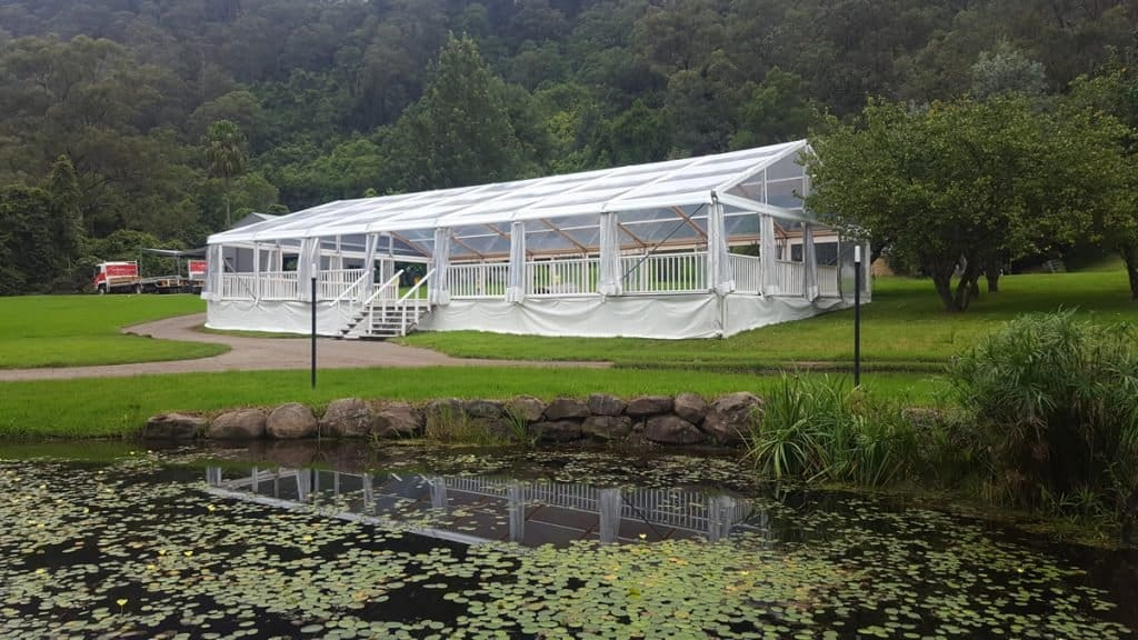 12m x 21m Marquee at Kangaroo Valley on a sloping site
