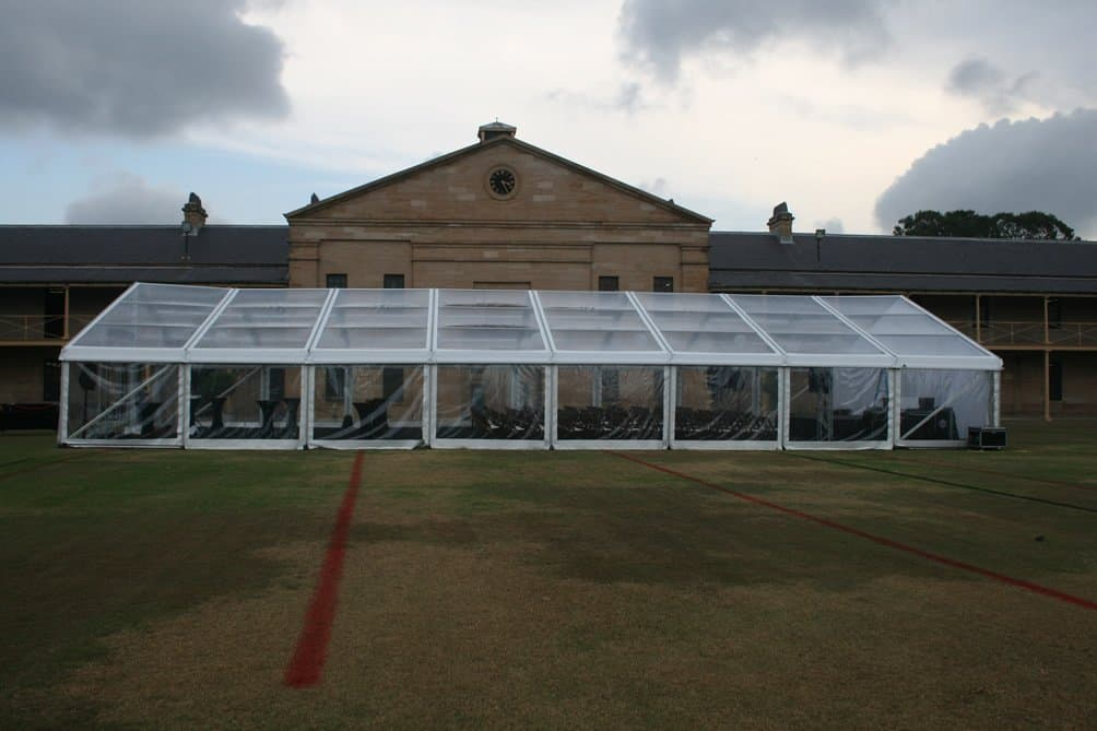 Framed Marquee clear span 12m x 24m Walkers Hire : Marquee at Victria Barracks Sydney from www.walkershire.com.au size 1004 x 669 jpeg 89kB