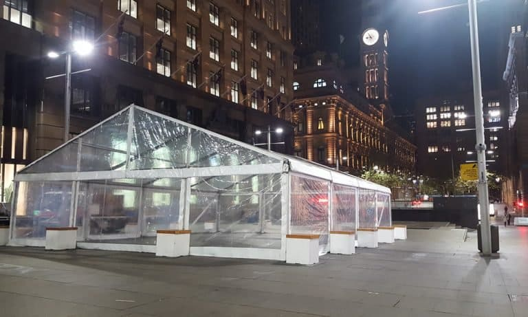 Marquee with clear walls and roof in Martin Pl Sydney