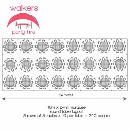 round table layout 10m x 24m marquee