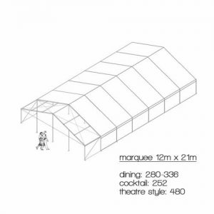 marquee diagram 12m x 21m