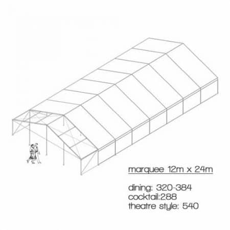 marquee diagram 12m x 24m