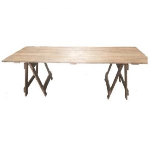 single trestle table with rustic appearance