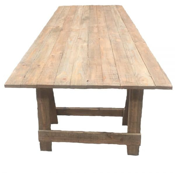 wooden trestle table rustic style