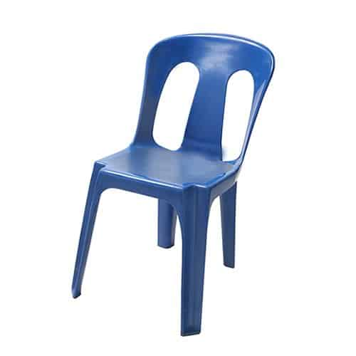 Single stacklabl blue plastic chair