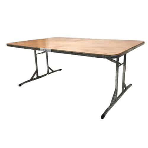 Single table 1.8m x 1.0m timber top steel frame with folding legs