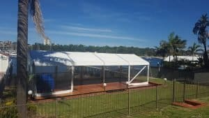 Marquee on floor over pool next to Yowie Bay