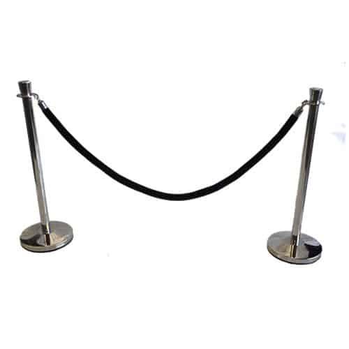 2 chrome rope stands with black rope