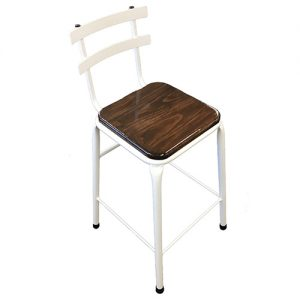 Hampton stool for hire white with wooden seat