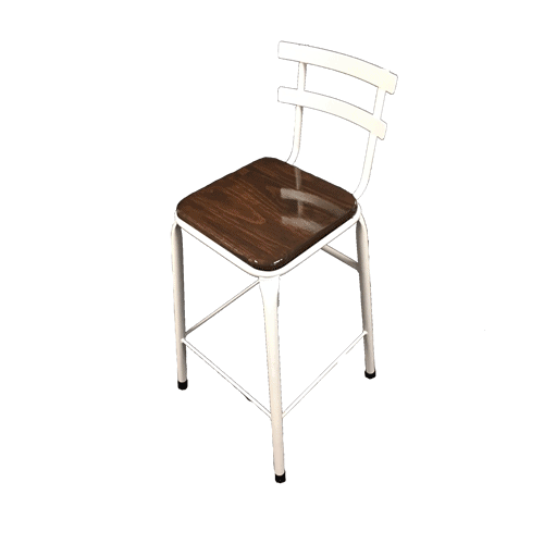 Single bar stool white frame timber seat with back rest