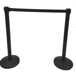 two retractble barriers in black with a belt connecting the two posts