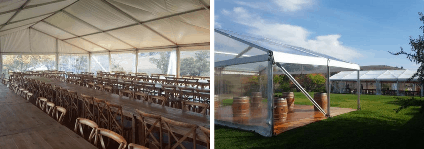 country wedding in Jugiong - rustic tables, chairs and barrels