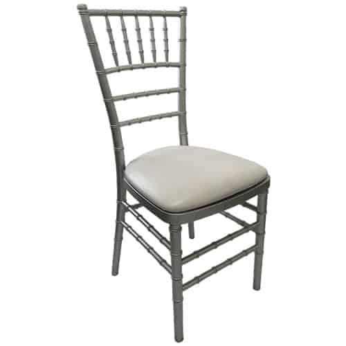 Silver Tiffany Chair with white cushion