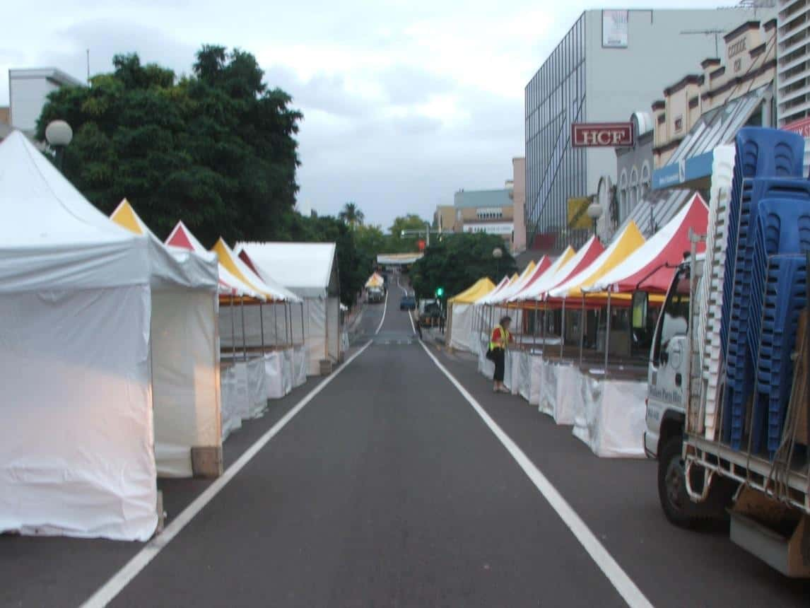party hire in hurstville: Fete stands supplied buy walkers hire being set up on the street in hurstville