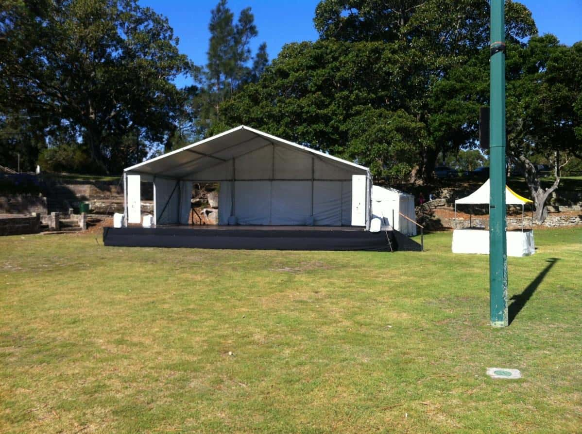 Marquee and stage hire with small gazebo on the school grounds in hurstville