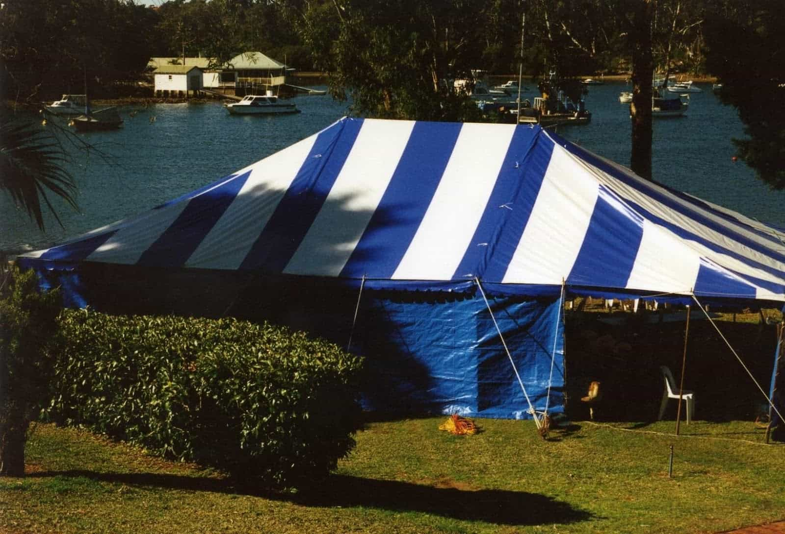 Marquee hire: In the early years we used tents that relied on centre poles and car axle pegs a