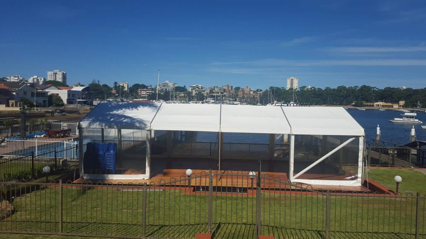 Party Hire In Sutherland Shire: Here's an example of marquee for a 21st birthday. It was put up over a pool at Gunnamatta Bay.