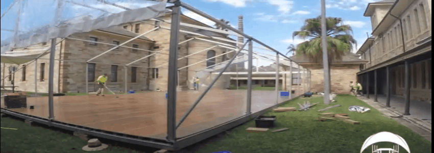 Wedding marquee hire being installed in the courtyard at the Sydney College of Arts