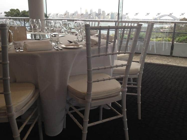 Tiffany Chair Hire at the Taronga Centre Mosman