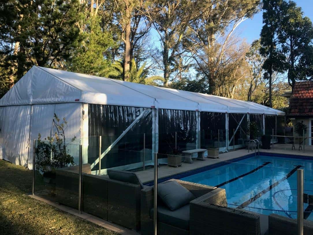 6x21 Marquee Hire in Pymble with White Roof Clear Walls