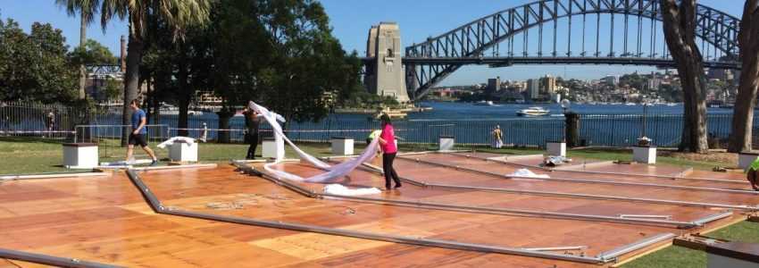 uilding the 12×24 marquee on Bennelong Lawn using our special flooring system as a base