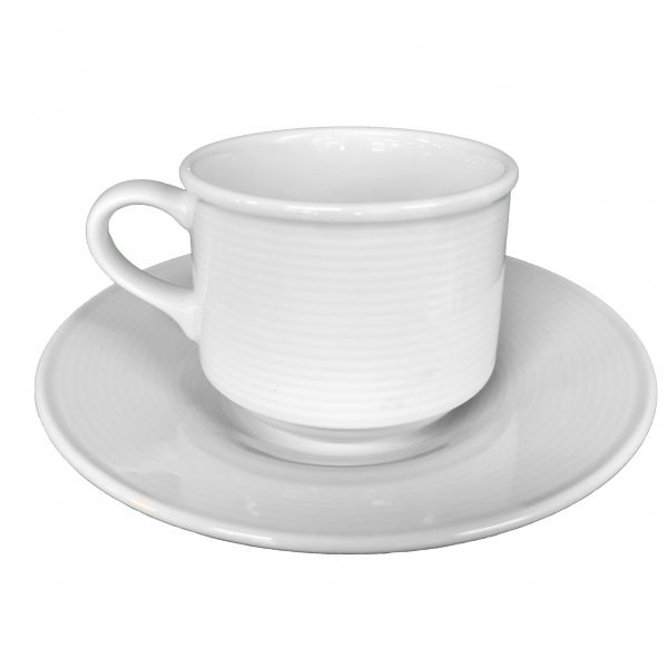 Aura Collection White Cup and Saucer