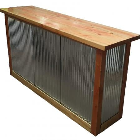 Rustic corrugated steel and wooden bar top angle view